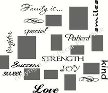 Family collage Wall Sticker with Words like Love, Kind, Joy, Special - Fill in the wording around your photo frames - great way to decorate a stairway or hallway area.  by Wall Decor Plus More