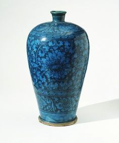 Chinese Handan stoneware decorated in black under a turquoise glaze, 1300-1400.      This elegant vase appealed to George Salting (1835-1909), a passionate collector who bequeathed to the Museum a large number of Chinese ceramics. When Salting bought this piece it was already more than 400 years old. The Chinese had always treasured ancient ceramics, but it was only after the opening up of China to the West after 1840 that antique items became available to other collectors.