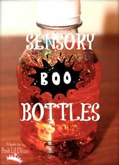 sensory BOO bottles are so easy & fun for kids of all ages. Shake them up and watch what happens inside!