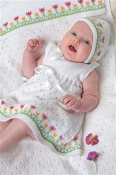 Ravelry: Dress with Flowers pattern by Lene Holme Samsøe Knitting For Kids, Crochet For Kids, Baby Knitting Patterns, Baby Patterns, Crochet Baby, Clothes Patterns, Knitting Ideas, Flower Patterns, Baby Girl Dress Patterns