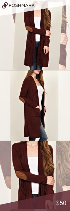 Gorgeous burgundy long cardigan with patches These will not last!! Gorgeous burgundy cardigan with elbow patches!! SHIPS OUT IN 10 DAYS! Sweaters Cardigans