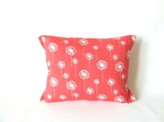 A sweet little dandelion pillow to cheer up your room! Coral Lumbar Pillow Cover  One Lumbar Pillow Long by mizzeztee, $15.00