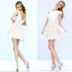 Sherri Hill short white prom dress Pearls, lace and legs! Style 32257 in ivory from our Spring 2015 collection.