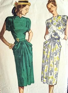 1940s COCKTAIL DRESS  PATTERN DRAPED SLEEVES POCKETS SIMPLICITY PATTERNS 2087