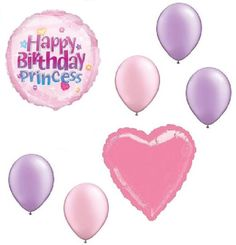 "Custom, Fun & Cool {Big Large Size 11""-18"" inch} 7 Pack of Helium & Air Inflatable Mylar Aluminium Foil/Latex Balloons w/ Happy Birthday Princess Design [Variety Assorted Multicolor in Pink & Putple]"