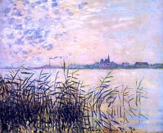 """Claude Monet, The Seine near Argenteuil, 1874...interesting how the clouds are """"suggested"""" and the grasses so precise."""