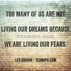 Too many of us are not living our dreams because we are living our fears. –Les Brown