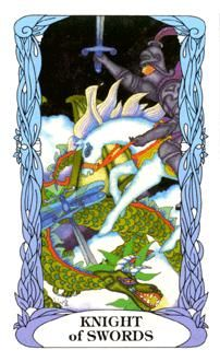July 2 Tarot Card: Knight of Swords (Moon Garden deck) Vitality is high and you have the golden touch now. Don't sit and wait for goodness to come to you ~ go make your happiness