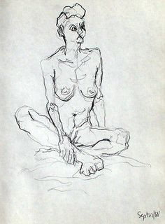 Artist-Canada-early-work-drawing-NUDE-MODEL-7-8x11-inches-mixed-media