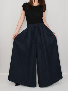 Palazzo Pants Wide Leg Pants Skirt Navy Blue Chiffon by KSclothing.....they're pants! Neat!