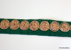 Green Fabric Trim 20mm wide Gold Spiral by KnicKnackNook on Etsy $3/yd