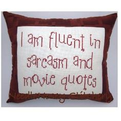 Cross Stitch Pillow Funny Quote Brown Pillow Movie by NeedleNosey