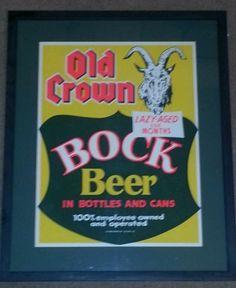 Old Crown Bock Beer Sign. Formerly Centlivre Brewing Co.