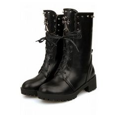 Black Faux Leather Lace Up Studded Decor Combat Boots ($30) ❤ liked on Polyvore