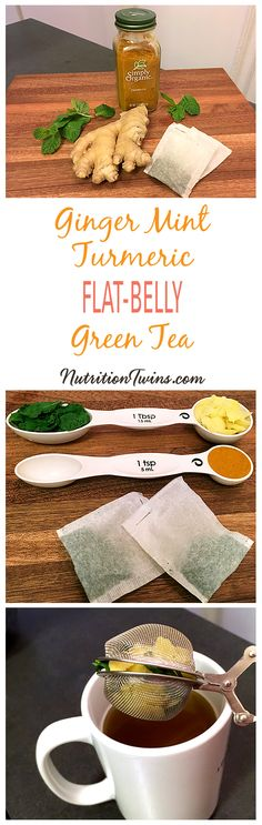 """Ginger Mint Turmeric Green Tea Flat-Belly """"Detox"""" 