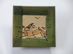 """Square dish, Niek Hoogland, Collection of """"Museum Torhouts Aardewerk"""" Torhout, Belgium"""