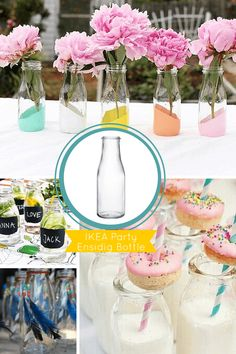 Ikea Hacks- glass bottles to use according to whatever theme you have