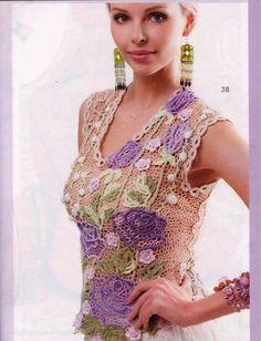 "Photo from album ""Журнал Мод 2015 № on Yandex. Zhurnal Mod, Irish Lace, Crochet Necklace, Crochet Patterns, Clothes, Beautiful, Album, Tops, Dresses"