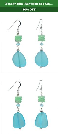 Beachy Blue Hawaiian Sea Glass Earrings. These unique blue sea glass earrings are handmade with Aloha. Inspired by the beach, this tropical earring will match well with a variety of ensembles including summer dresses, wrap arounds, sarongs, etc.