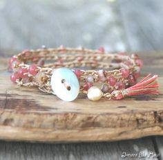 Boho Bracelet Wrap Crocheted Bracelet Stacking Bracelet