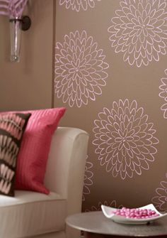 Stencils for Kate's room.  Would do tan flowers on her pink walls.  Maybe mix it up white and tan.