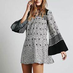 Free People White Dreamy Daze Print Dress Vestimentaire, Cuissardes,  Couture, Robe De Balançoire 554d44688761