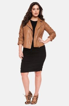 ELOQUII Quilted Faux Leather Moto Jacket (Plus Size)