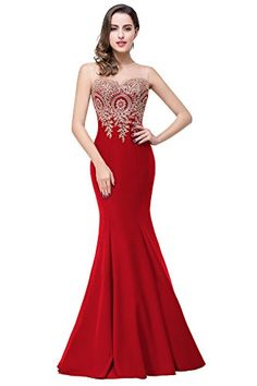 Womens Casual Gold Lace Appliques Sleeveless Mermaid Maxi Red Dress 6 Red >>> You can get additional details at the image link. (This is an affiliate link) #OutfitTips