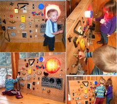"previous pinner wrote: ""random switches, buttons, knobs, gadgets, cb radio, multimeter and even an old stop light... all collected from a surplus store. Just mount them all on a board and your kids will have hours of fun exploring. You'll be amazed how many times they can flip on and off a switch, or boing a door stopper!"""