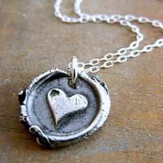 Wax Seal Necklace, Whimsical Heart Rustic Silver Charm Necklace, ADORATION by E. Ria Designs