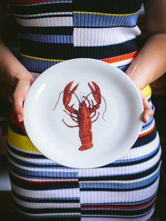 1960s Bavarian Lobster Plate Red Lobster, Lobsters, Plate Sets, 1960s, Porcelain, Plates, Retro, Vintage, Licence Plates