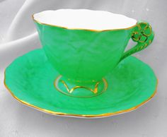Radfords china England flower handle textured tea cup and saucer art deco green