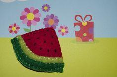 watermelon felt hair clip