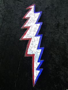 Grateful Dead inspired Steal Your Face mirror and stained glass 13-point lightning bolt mosaic