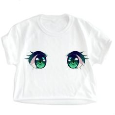 Anime Shirt, Pastel, Nu Goth, Tumblr, cute, Anime Eyes, Kawaii, kawaii... ($18) ❤ liked on Polyvore featuring tops, white top, low cut crop top, dressy crop tops, animal print tops and pastel goth shirts