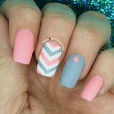 A matte play on chevron, pink, white and gray! ✨
