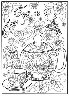 Teapot doodle colouring page, adult colouring --> For the top-rated adult coloring books and writing utensils including colored pencils, watercolors, gel pens and drawing markers, please visit http://ColoringToolkit.com. Color... Relax... Chill.