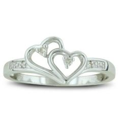 Double Heart Diamond Promise Ring, Availabe Ring Sizes 4-10, Ring Size 9.5