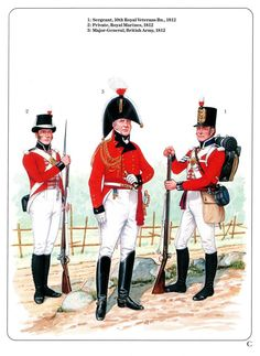 Military Uniforms During the War of 1812 – All About Canadian History British Army Uniform, British Uniforms, Royal Marines Uniform, American War, American History, Choctaw Indian, Army Sergeant, War Of 1812, Major General