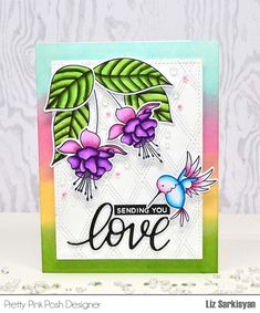 Sending You Love with Flourishing Fushia (Create For Family and Fun) Beach Cards, Pretty Pink Posh, Different Shades Of Pink, Bird Cards, Marker Art, Pretty Cards, Copics, Flower Cards, Flourish