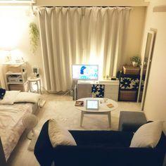 mikansanさんの、部屋全体,無印良品,照明,カラーボックス,無印,間接照明,白,一人暮らし,Francfranc,狭い部屋,フランフラン,1K,賃貸,白黒グレー,のお部屋写真