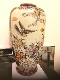 Chinese Statement Vase Hand Made Decorated 36cm Exotic Birds Cherry Blossom Art  | eBay
