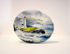 Painted stone sasso dipinto a mano. Lighthouse by OceanomareArt