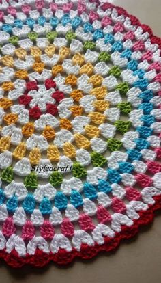 GRANNY CIRCULAR - Must try for beginners in crochet Instructions to create beautiful doily. Must try for beginners in crochet. Explore the joy of creating. Crochet Mat, Crochet Rug Patterns, Crochet Shell Stitch, Granny Square Crochet Pattern, Crochet Round, Crochet Squares, Crochet Designs, Crochet Crafts, Crochet Stitches
