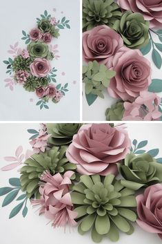 Giant Paper Flowers Wall Backdrop for Personalized Nursery Decor, Large Paper Flowers, Dusty Rose and Green Wall Art above the Bed Paper Flower Art, Paper Flowers Craft, Large Paper Flowers, Paper Flower Backdrop, Paper Flower Tutorial, Flower Crafts, Diy Flowers, Flower Wall, Flower Pots