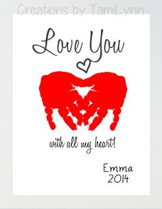 Heart Love You Baby Handprint Art by CreationsbyTamiLynn on Etsy