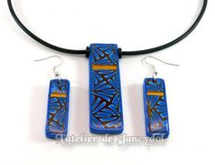 Polymer Clay jewellery made from a cane from Donna Kato's book by L'Atelier de Jancydol polymer clay
