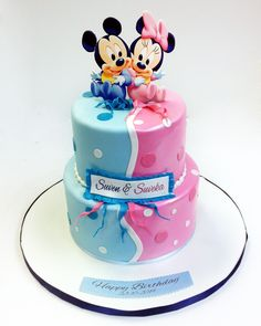 27 Marvelous Picture of Happy Birthday Twins Cake birijus 27 Marvelous Picture of Happy Birthday Twins Cake birijus Waltraud Zimmermann ausgefallene kuchen 27 Marvelous Picture of Happy nbsp hellip Bolo Mickey E Minnie, Torta Minnie Mouse, Theme Mickey, Mickey Cakes, Mouse Cake, Birthday Cake 30, Twin Birthday Parties, Mickey Birthday, Birthday Wishes