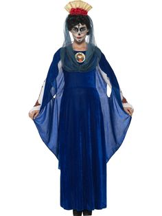 You can buy a Women's Day of the Dead Sacred Mary Costume from the Halloween Spot. Dress like sacred Mary with blue Dress with Print Heart, Headband & Hood. Costume Halloween, Mary Costume, Halloween Fancy Dress, Cool Outfits, Summer Outfits, Fashion Outfits, Sainte Marie, Cape Dress, Complete Outfits