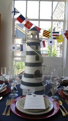 A stunning nautical wedding in kelowna bc nautical wedding lighthouse centerpiece seaside weddingbeach themed junglespirit Image collections